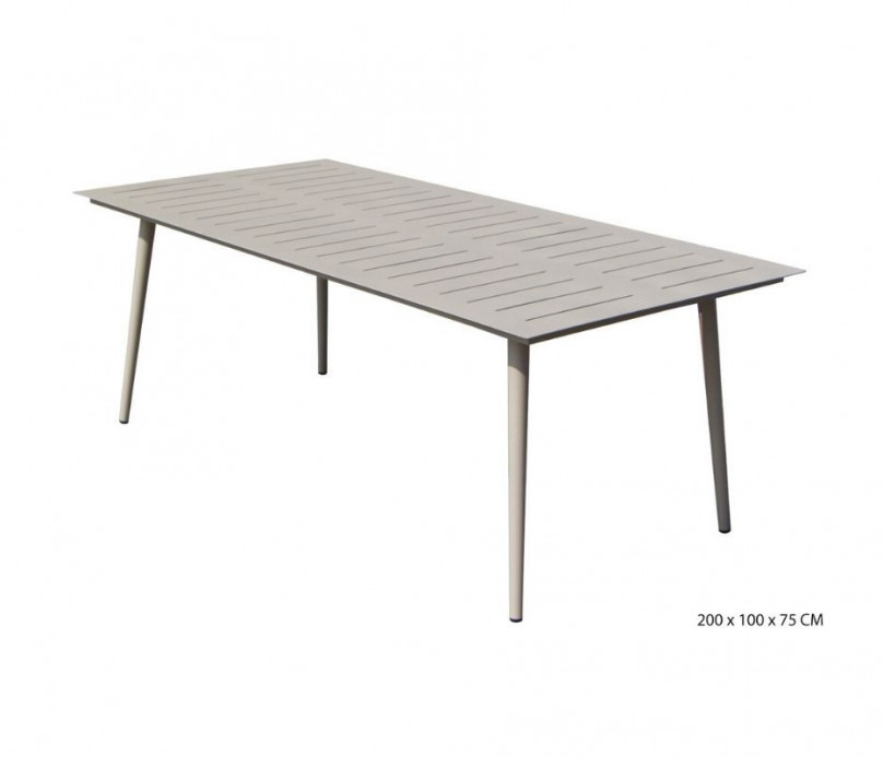 Table fixe rectangulaire sable aluminium  Inari 200 cm
