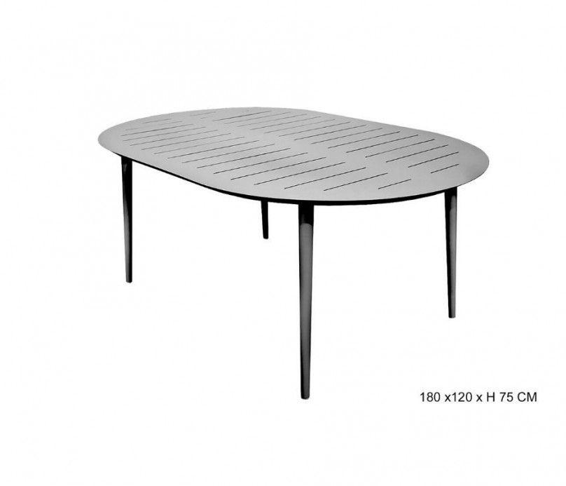 Table fixe légère ovale aluminium gris clair