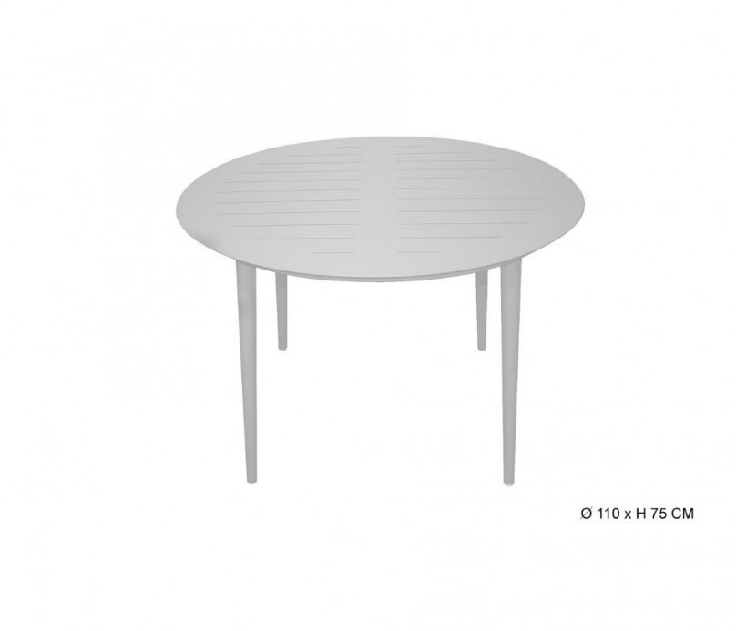 Table fixe et légère ronde aluminium gris clair Diam 110 cm