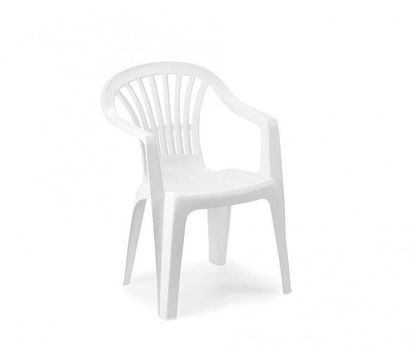 Fauteuil de jardin - plastique - polypropylène - blanc - empilable