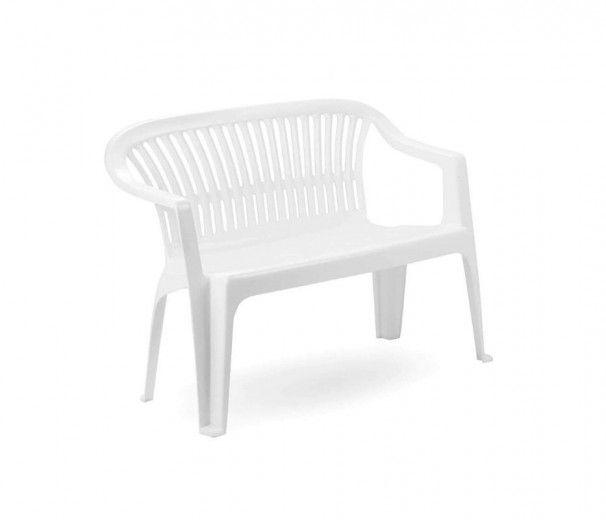 Banc de jardin - plastique - blanc - 100% polypropylène