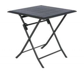 Petite table de jardin pliante HESPERIDE carrée 71x71 cm graphie en aluminium