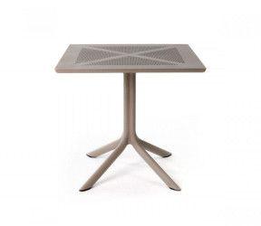 Table résistante, légère et pour petits espaces intérieure-extérieure Clipx 70 taupe polypropylène Nardi