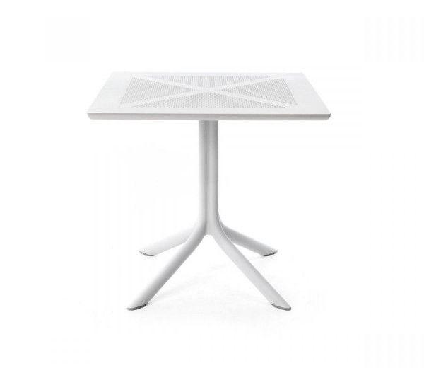 Table résistante, légère et pour petits espaces intérieure-extérieure Clipx 70 blanche polypropylène Nardi