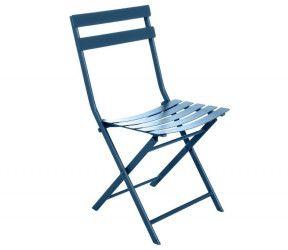 Chaise pliante bistrot bleu indigo mareco sarzeau