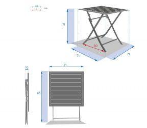 table carre azua hesperide dimensions