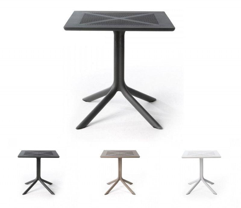 Table résistante, légère et pour petits espaces intérieure-extérieure Clipx 70 anthracite polypropylène Nardi
