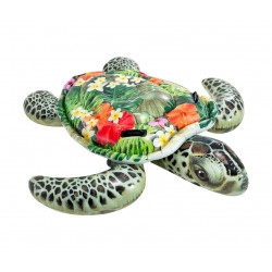 Grand matelas tortue à fleurs à la piscine ou à la plage - 191x170 cm