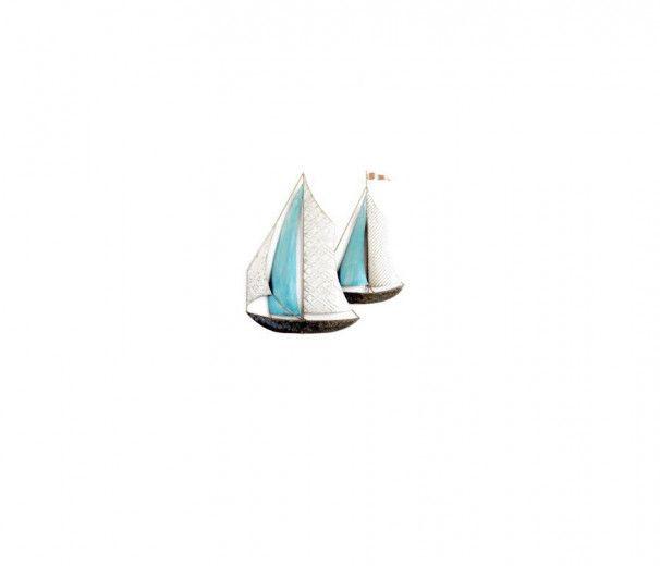 Duo de bateaux voiles blanc/bleu