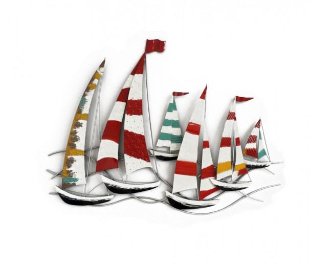 Décoration murale bateaux - régates bateaux multicolores - 104 x 98 cm