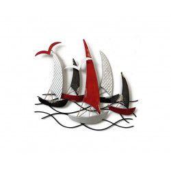 Décoration murale bateaux régates 5 bateaux tricolores 45 x 45 cm