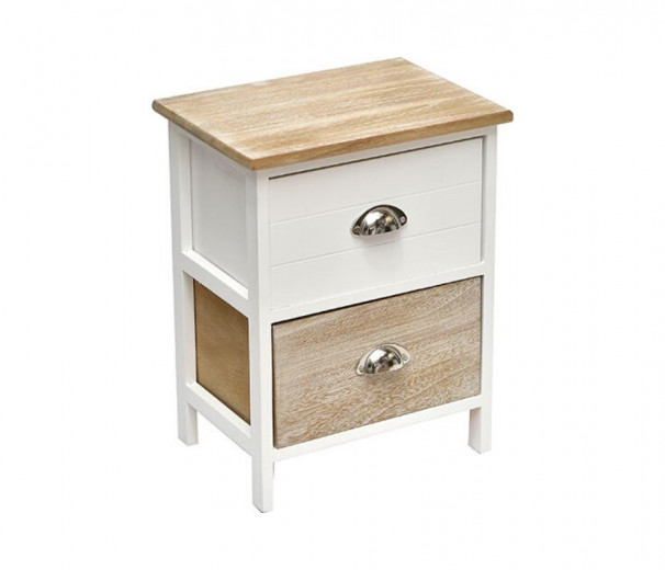 Table de chevet 2 tiroirs blanc/naturel 37.5x27.5xh48 cm