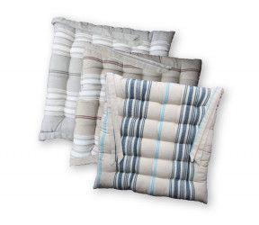 Galette de chaise arcachon 100 % coton - carrée ou ronde - gris - naturel - bleu navy - 40 x40 cm