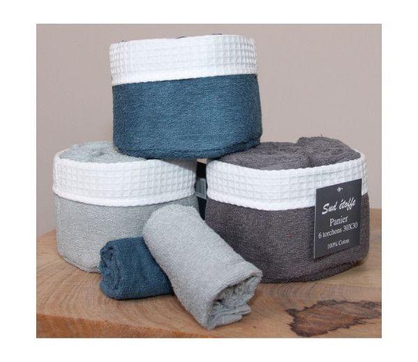 Panier 6 serviettes invités salle de bain - 30 x 30 cm - 100% coton - Différents coloris
