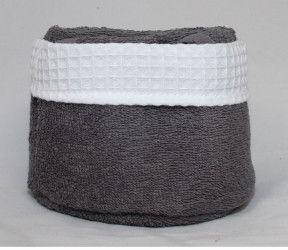 Panier invité Fanny anthracite - 6 serviettes invités salle de bain - 30x30 cm -