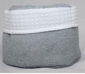 Panier invité Fanny gris - 6 serviettes invités salle de bain - 30x30 cm -