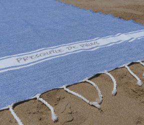 Fouta brodée Presqu'île de Rhuys comme serviette de plage