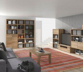 ensemble bibliothèque et meuble TV ton bois intégrés à un salon