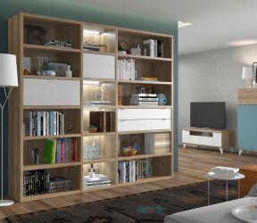 grande bibliothèque sur-mesure ton bois avec tiroirs et portes vitrées