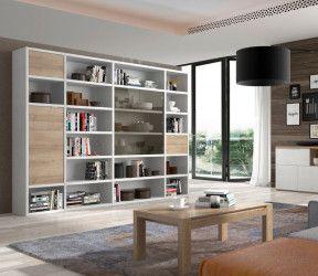 bibliothèque modulaire haute et large avec portes et étagères - blanc et ton bois