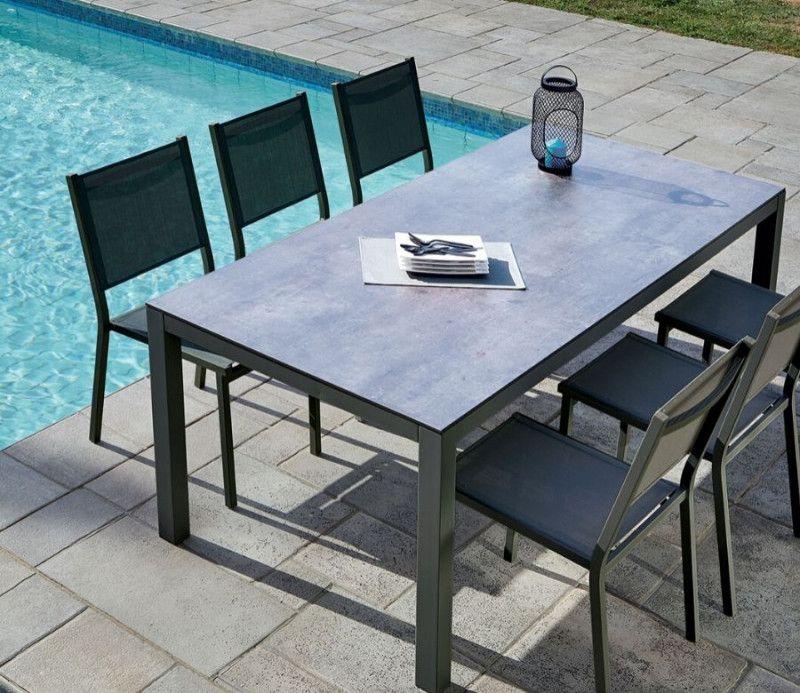 Table fixe rectangle extérieur -  structure alu et plateau HPL - design