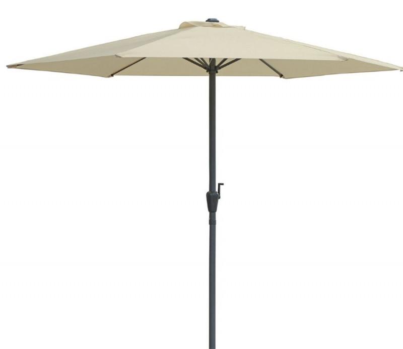 Grand parasol rond pas cher rectangle diam 3 m. beige .Toile épaisse 180g/m². Mât central alu