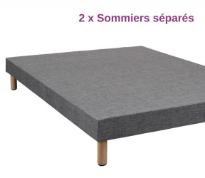 ensemble 2 sommiers 080-200 avec kit de liaison amovible - sommiers tapissier gris disponibles rapidement à Sarzeau