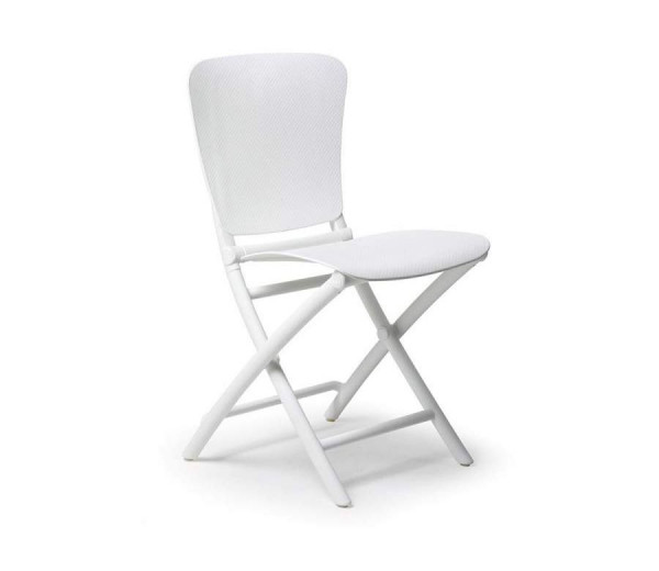 Chaise pliable intérieure-extérieure Zac classic blanche polypropylène Nardi