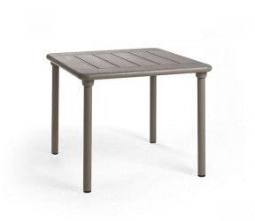 Table résistante, empilable et pour petits espaces intérieure-extérieure Clipx 70 taupe polypropylène Nardi
