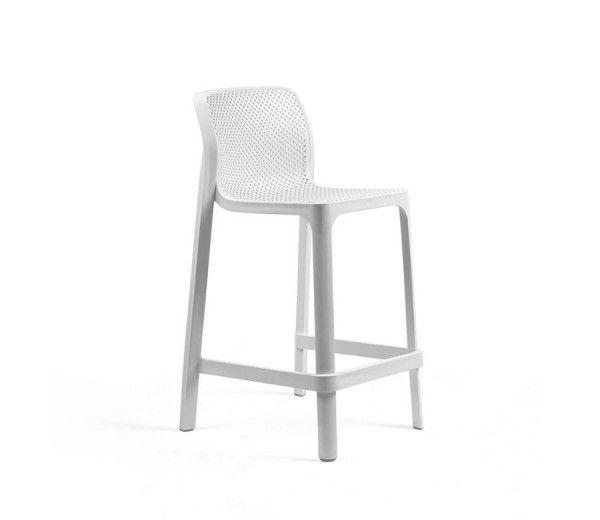 tabouret de bar résistant, léger et aéré intérieur-extérieur Net Mini blanc polypropylène Nardi