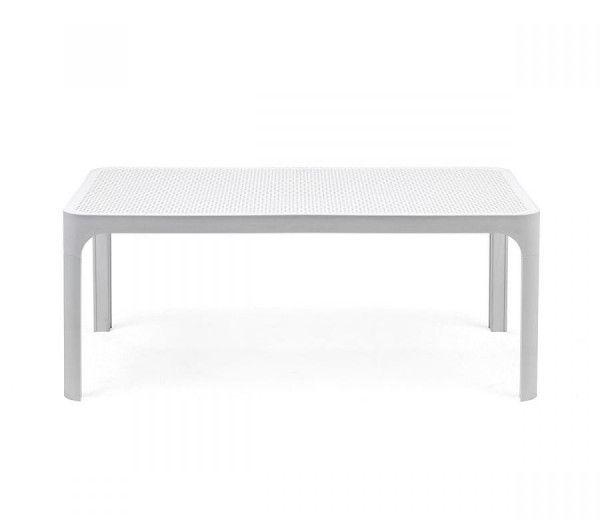 Table basse rectangle  d'appoint résistante,  intérieure-extérieure Net blanche polypropylène Nardi