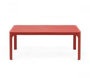 Table basse rectangle  d'appoint résistante,  intérieure-extérieure Net corail polypropylène Nardi