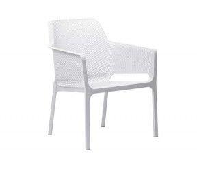 Fauteuil relax bas et large, résistant et confortable intérieur-extérieur Net Relax blanc polypropylène Nardi
