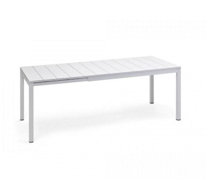table résistante, extensible jusqu'à 2.10 mètres intérieure-extérieure rio blanche polypropylène Nardi
