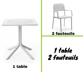 Ensemble table CLIPX 70x70 cm + 2 fauteuils blanc Bora en plastique solide - Nardi
