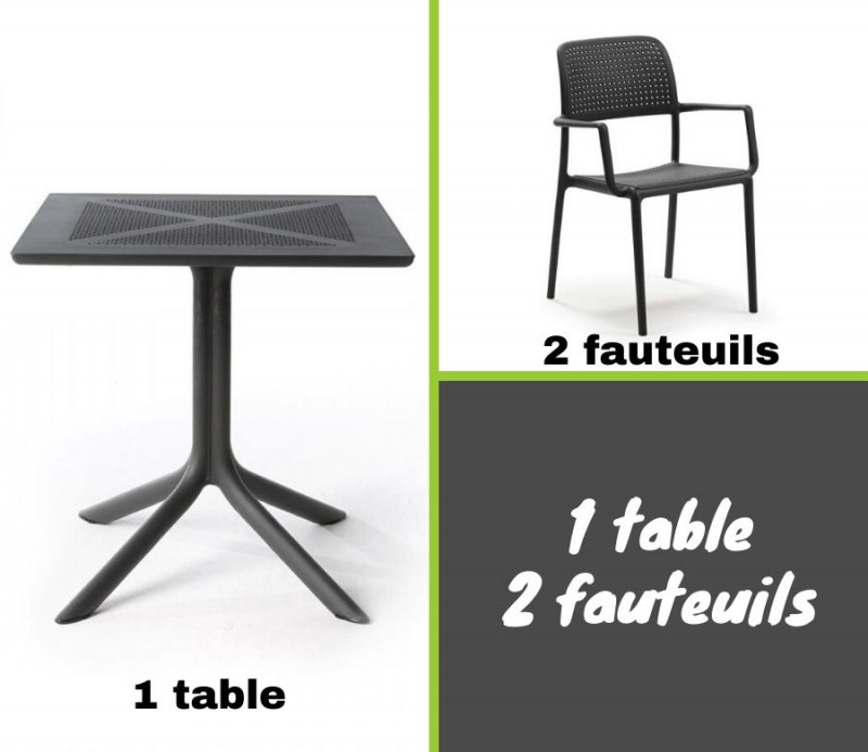 Ensemble table CLIPX 70x70 cm + 2 fauteuils Bora en plastique solide - Nardi
