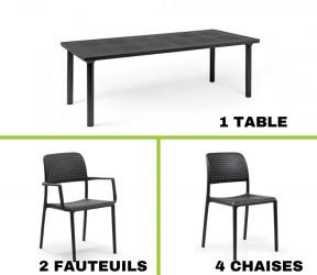 Ensemble table LIBECCIO  + 2 fauteuils Bora + 4 chaises Bora en plastique solide - Nardi