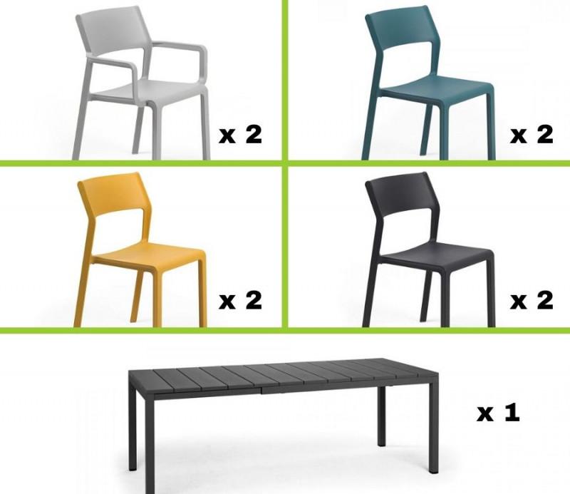 Ensemble table RIO + 2 fauteuils + 6 chaises de couleurs TRILL - Nardi Outdoor