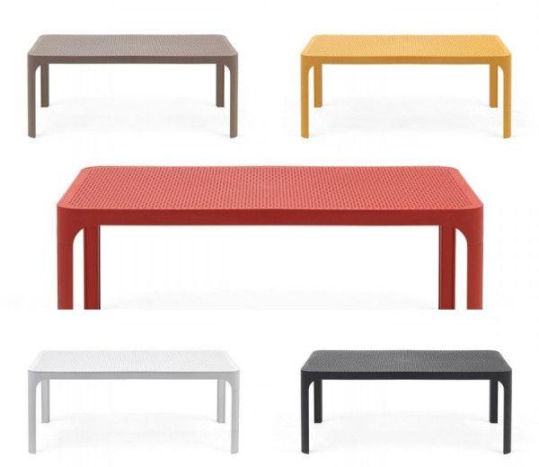 Table basse rectangle  d'appoint résistante,  intérieure-extérieure Net