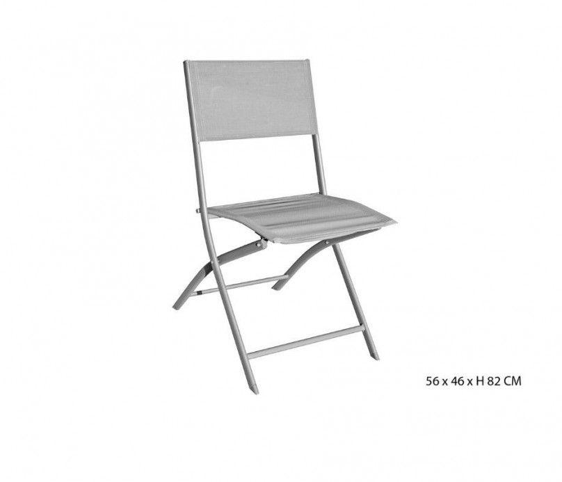 Chaise pliante de jardin ou d'appoint gris clair texaline et acier