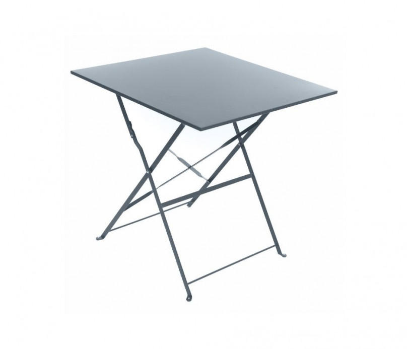 Petite table pliante carrée en acier Hespéride gris
