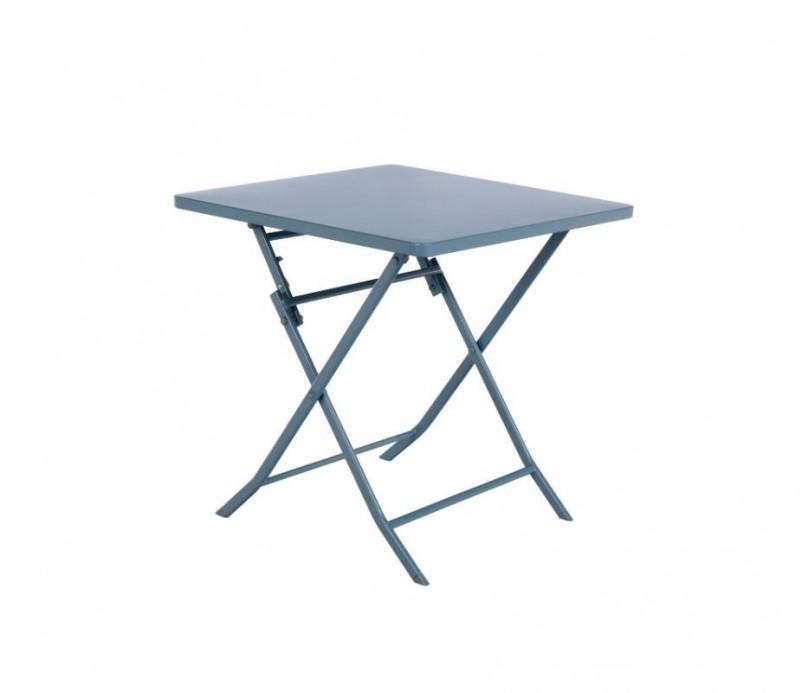 Petite table de jardin bistrot en acier Hespéride - bleu orage - 70x70 cm -
